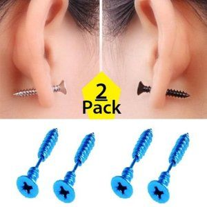 Other - NEW 2-PAIR Screw Ear Stud Earrings Stainless Steel